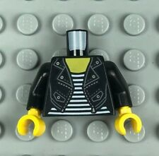LEGO Minifigure Torso Female Black Leather Jacket White Striped Shirt (x1)