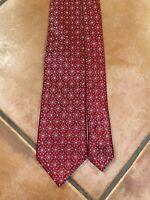 "CANALI Men's 100% Silk Necktie ITALY Luxury Designer Geometric FLORAL Red 60""x3"""