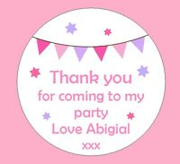 48 Personalised Bunting Birthday Party Stickers Thank you Sweet Cones Bags Seals
