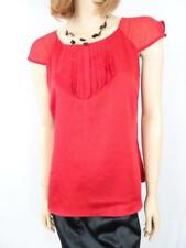 DIANA FERRARI Red Polyester Pleated Blouse Sz 10