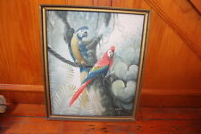 VINTAGE NEAR ANTIQUE ORIGINAL OIL ON CANVAS PAINTINGS MACAW BIRDS S. BLAKE