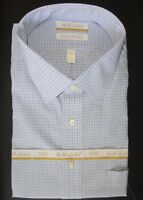 Roundtree Yorke Dress Shirt * White w/ Blue Mini Check * 19 - 34/35 BIG  NWT