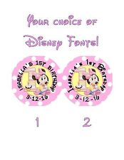 20 Minnie Mouse 1st First Birthday Stickers Lollipop Labels Party Favors 2 inch