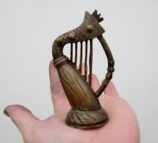 Antique Brass Miniature Model Of An Irish Harp - Dolls House Musical Instrument