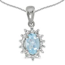 """14k White Gold Oval Aquamarine And Diamond Pendant with 18"""" Chain"""