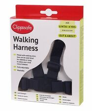 Clippasafe Baby and Toddler Walking Harness With Reins Child Safety (Black)