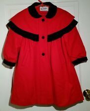Rothschild Wool Dress Holiday Coat Jacket Size 5 Red Black Bow Made In Usa