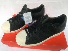Adidas Originals Superstar 80s BZ0643 Black Snake Leather Shoes Women's 6 new