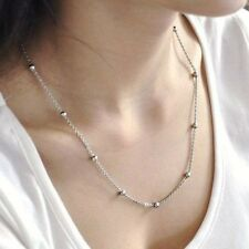 """22"""" Shiny Girl Stainless Steel Necklace Chain Beads Women Jewelry Never Tarnish"""