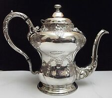 Unique Barbour Silver/Rogers VINTAGE Pat Chased Grape Coffee/Tea Pot~Quadruple!