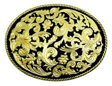American Western Belt Buckle Black & Gold Floral Oval Authentic Dragon Designs
