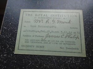1932 Ernest Rutherford, Royal Institutuion Lecture, Admission Ticket