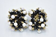 Statement Earrings Beaded Cluster Black White Gold Metallic Vintage Unique Bin8