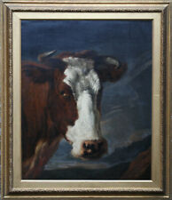 THOMAS SYDNEY COOPER BRITISH 1832 ANIMAL ART SHORTHORN COW PORTRAIT OIL PAINTING