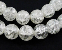 24 Crackle Glass CLEAR WHITE Round Glass Beads 8mm bgl0333