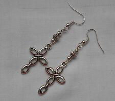 Handmade earrings tibetan silver cross and silvery beads lovely