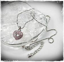 NEU 40cm+6,5cm HALSKETTE Herz SWAROVSKI STEINE light rose/hellrosa/rosa COLLIER