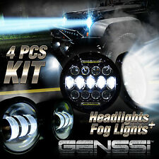LED Headlights + LED Fog Light DRL Combo Kit For Jeep Wrangler JK 2007-2017