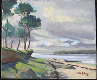 René Olichon aka Roll (1912-1969) Landscape Breton Hsc Brittany Quimper Odetta