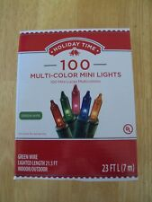 New Box Holiday Time 100 Count Multi-Color Mini Christmas Lights Green Wire Set