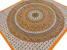 Couvre-lit indien Éléphants Orange Coton Dessus de lit Inde Jeté de lit Népal O