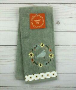 Guest Hand Towel Gray Bird Sunflowers Terry Cloth Bathroom
