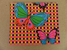 Vintage Butterfly Butterflies Psychedelic Card Post Card Flourescent Black Lite