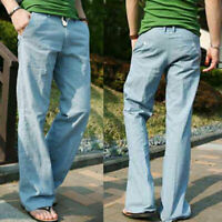 Men's Baggy Pants Casual Linen Breathable Loose Long Pants Solid Straight Pants