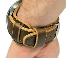 Horween leather watch bund band brown, Wrist cuff mens aviator, Steampunk strap