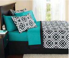 King Size Comforter Set 8-Pieces Geo Aqua Black Bed in a Bag Complete Bedding