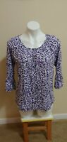 NWT $64 Michael Kors Purple Floral Print 3/4 Sleeve Pleated Boat Neck Top Size S