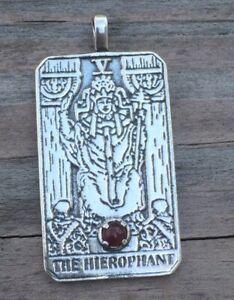 Hierophant Tarot Pendant .925 Sterling Silver w/ genuine Carnelian gemstone