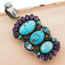 "LEO FEENEY Squash Blossom Necklace Pendant ""AMETHYST CROWN"" Turquoise Gemstones"