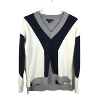 Ann Taylor V-Neck Sweater Size Small Color-Block Wool Blend Knit Long Sleeve