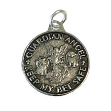 """Pet Guardian Angel Amulet with Keep Safe Blessing for Dog Cat 1"""" Medallion Charm"""