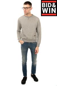 RUSSELL ATHLETIC Sweatshirt Size S Grey Melange Effect Ribbed Trim Crew Neck