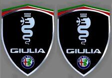 2 adhésifs sticker noir chrome ALFA ROMEO GIULIA (idéal ailes avant)