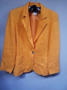 Harve Benard Petite Womens Linen One-Button Blazer Jacket Pockets Orange Sz 12P