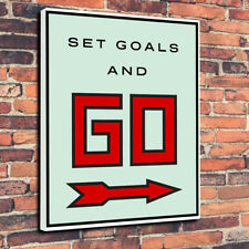 "Set Goals Go Pop Art Printed Canvas Picture A1.30""x20"" 30mm Deep Frame Monopoly"