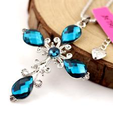 Jewelry Betsey Johnson Enamel Chain Pendant Rhinestone crystal cross necklace