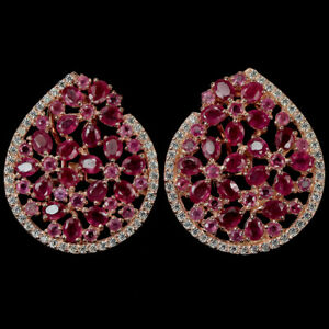 BIG GENUINE AAA PINK RED RUBY & WHITE CZ STERLING 925 SILVER FLOWER EARRING
