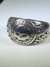 MENS Sterling Silver Harley Davidson Willie G Skull Sz 11 Band Ring