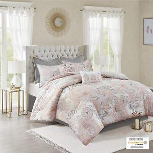 "Madison Park 8 Piece Isla Printed Reversible Comforter Set Queen 90""x90"" NEW"