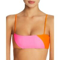 Ellejay Bandeau Bikini Swim Top NWT $92 Small Neon Pink Colorblock Orange Cute
