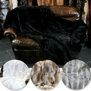 Luxury Genuine Rabbit Fur Sofa Blanket Carpet Living Room Floor Mat Bedspread