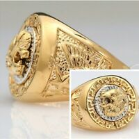 Mens Gold Filled Lion Head Medusa Great Wall Signet Party Rings UK SIZES:N P R V