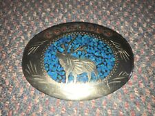 Vintage Little White Dove Turquoise Coral Inlaid Belt Buckle Colorado Elk Moose