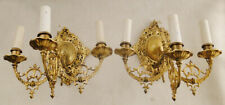 Antique french Louis XV style solid bronze pair of sconces. (1297)