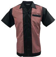 Rockabilly Fashions Men's Shirt Retro Vintage Bowling 1950 1960 Black Red White