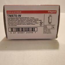Box Of 10 Legrand Tm870 W White Decorator Switch 1 Pole 15 Amp 120277vac New